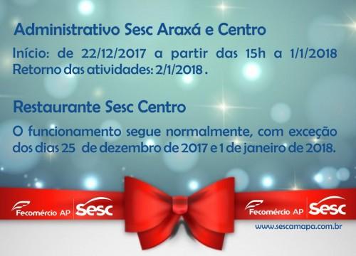 Suspensão das atividades fim de ano Sesc Amapá