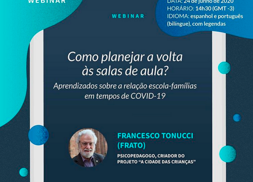Francesco Tonucci debate a reabertura e reinvenção das escolas após o fim da pandemia