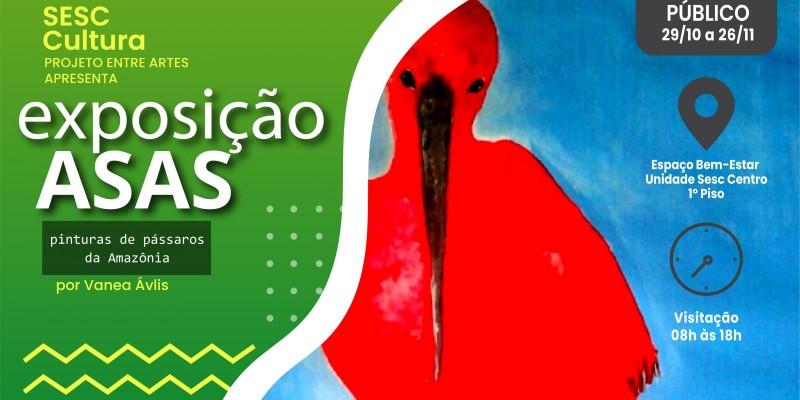 """Sesc Amapá promove a exposição """"Asas: pinturas de pássaros da Amazônia amapaense"""""""