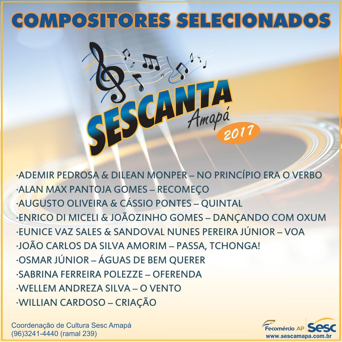 Compositores Classificados para o projeto Sescanta 2017