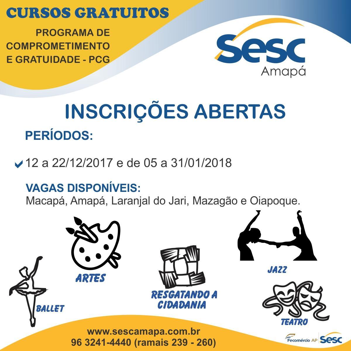 Sesc Amapá lança edital de inscrições para o Programa de Comprometimento e Gratuidade (PCG)