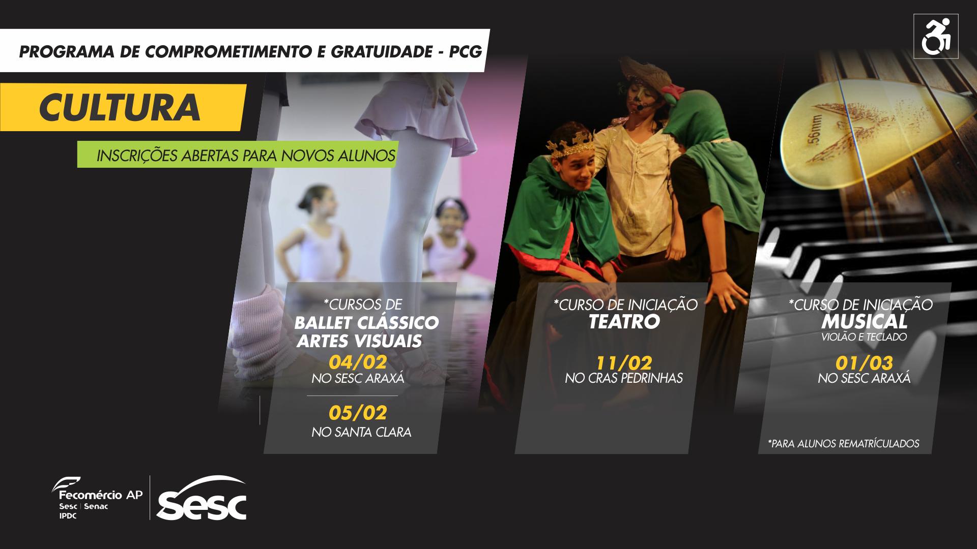 Inscrições para cursos de artes visuais, ballet e iniciação musical irão até 15 de fevereiro.